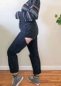 Vintage Distressed & Faded Black Mom Jeans - L/XL