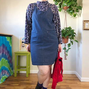 Vintage Overall-Strap Denim Jumper Dress - L