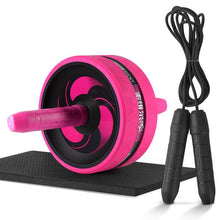 New 2 in 1 Ab Roller&Jump Rope No Noise Abdominal Wheel Ab Roller with Mat