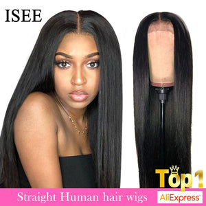ISEE HAIR Straight Lace Front Wigs For Women Malaysian 150%