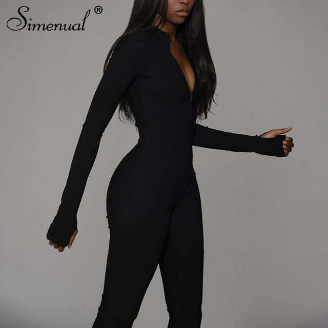 Casual Fitness Sporty Rompers Womens Jumpsuits Workout Zipper Activewear