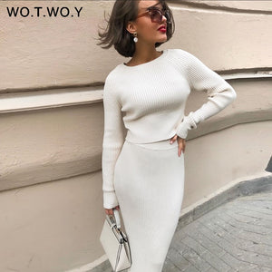 WOTWOY Knitted Sweater and Skirt