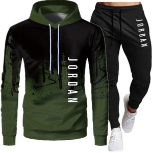 2 Pieces Sets Tracksuit Men Hooded Sweatshirt+pants Pullover Hoodie