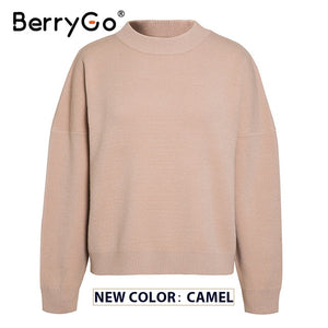 BerryGo women geometric khaki knitted sweater