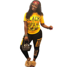 Black gold letter print casual fashion outfit