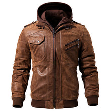 Men's Real Leather Motorcycle jacket Removable Hood winter coat Men Warm Genuine Leather jackets