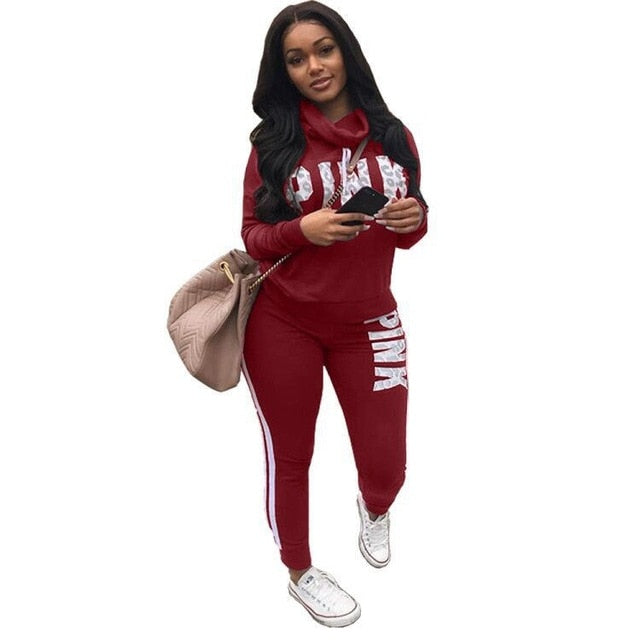 Plus Size 2019 New PINK Letter Print Two Piece Set Sportswear Tracksuit