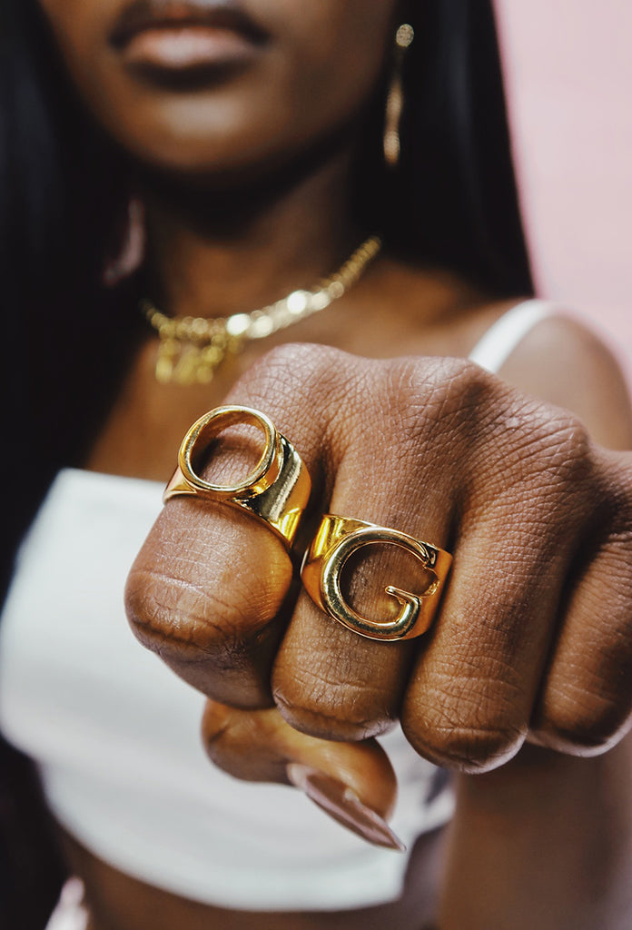 Gold Letter Ring - Amarachi Jewellery