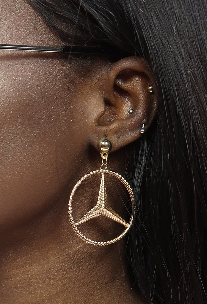 Golden Benz Earrings - Amarachi Jewellery