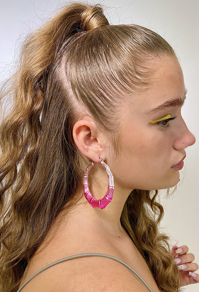 Pink Dip Bamboo Earrings
