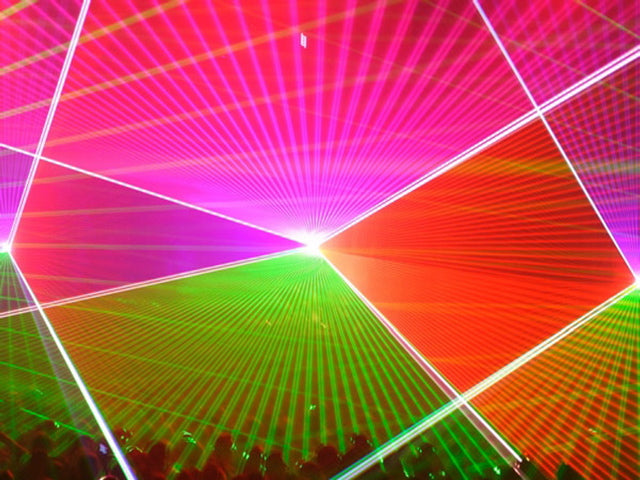 Laser show synchronized to music