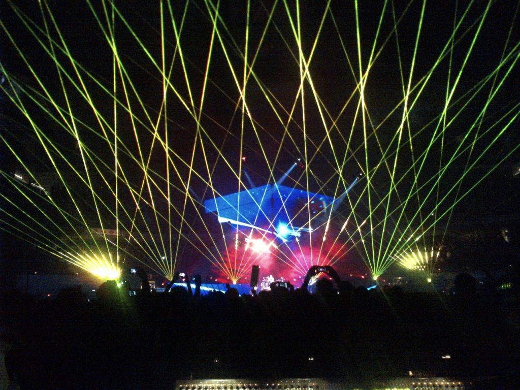 Festival with laser controlled by DMX console