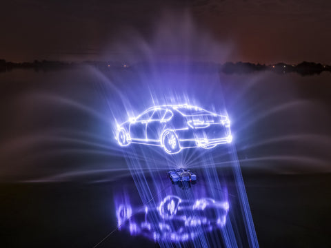 3D laser projection of bmw car floating mid-air