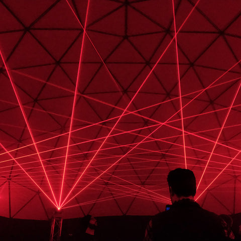 Red Laser Beams Inside Laser Dome