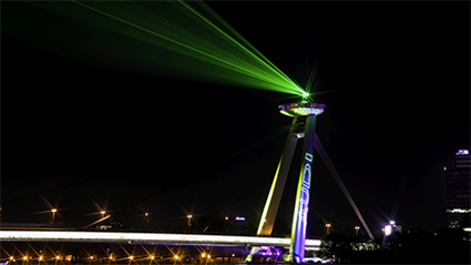 Sky laser beam on top of tower