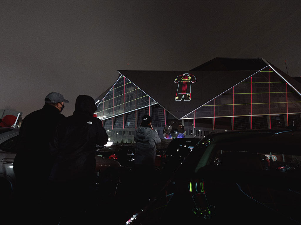 Laser graphic and laser mapping projection for United Kit Launch 2021