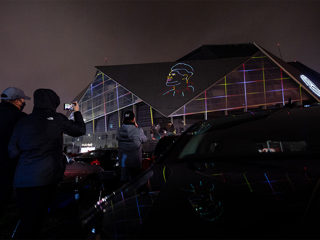 Laser graphic and laser mapping projection for United Kit Launch 2021 example #2