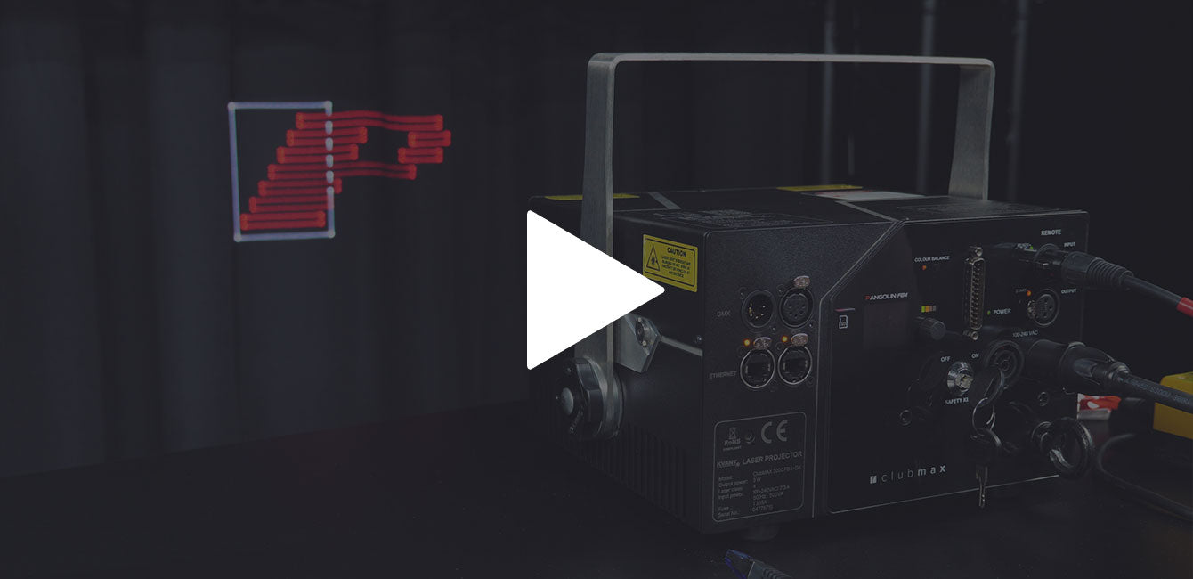 Kvant Clubmax laser system projecting logo in Auto Mode