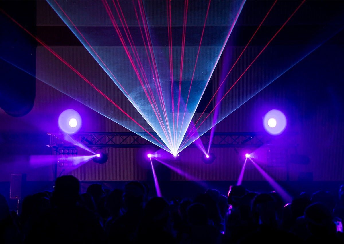 dj lasers used at high school dance in the dark