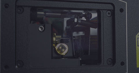 Close up of Kvant Clubmax laser projector output window