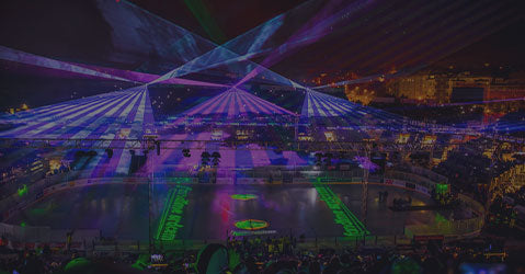 Laser effects being projected during hockey game