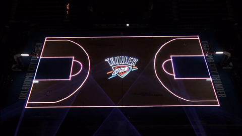 thunder basketball team laser mapping on court