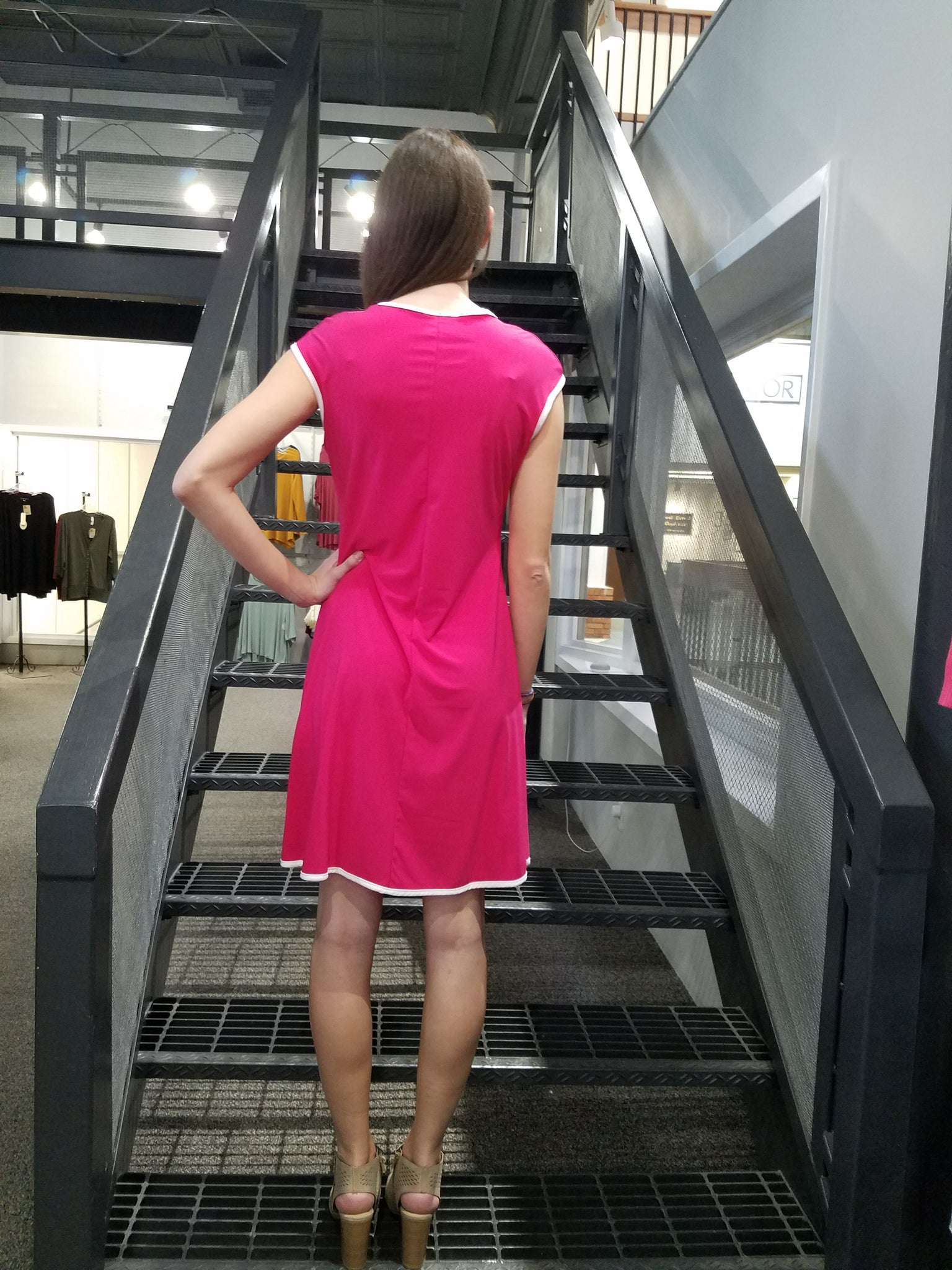 Fuchsia Piped Dress