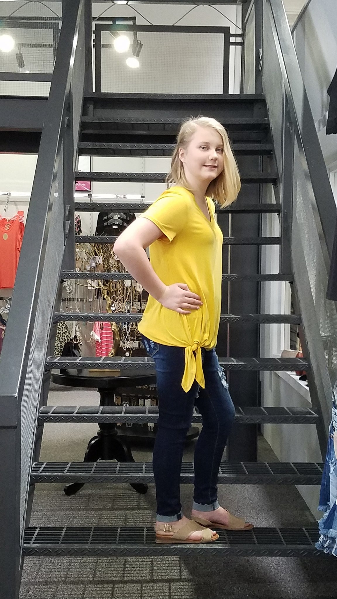 SS Yellow V-Neck Self Tie Top