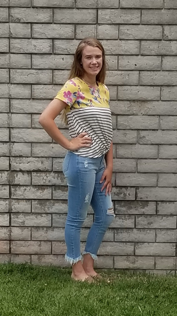 SS Floral & Striped Color Block Top