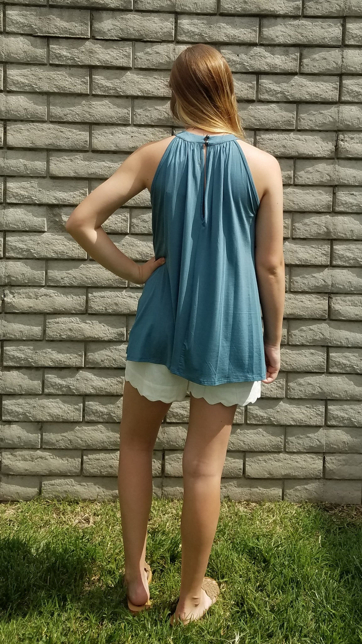 TT Sleeveless High Neck Stone Green Top