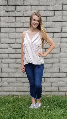 JJ Kan Can Ankle Distressed Jeans w Pearl Detail