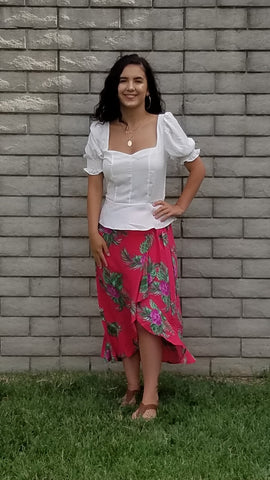 SK Ruffled Wrap Tropical Skirt