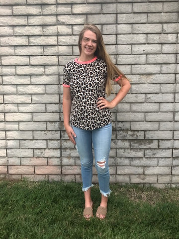 SS Animal Print Round Neck Top