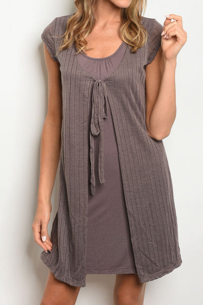 DR Solid Ribbed Combination Dress