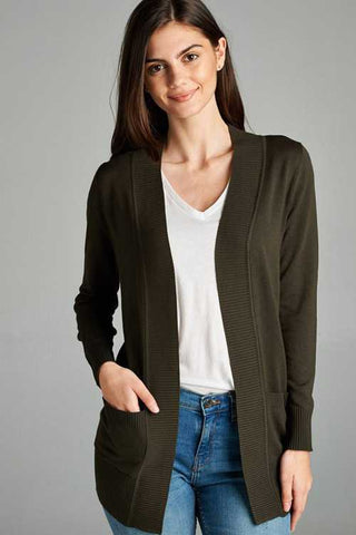 CA Plus Olive Rib Banded Open Sweater Cardigan w Pocket