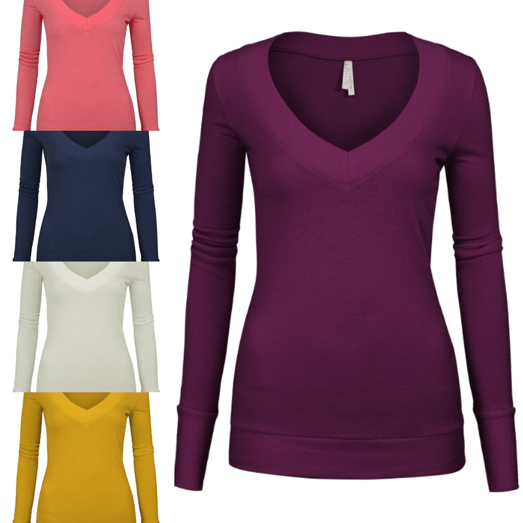 Basic V Neck Long Sleeve Sweater