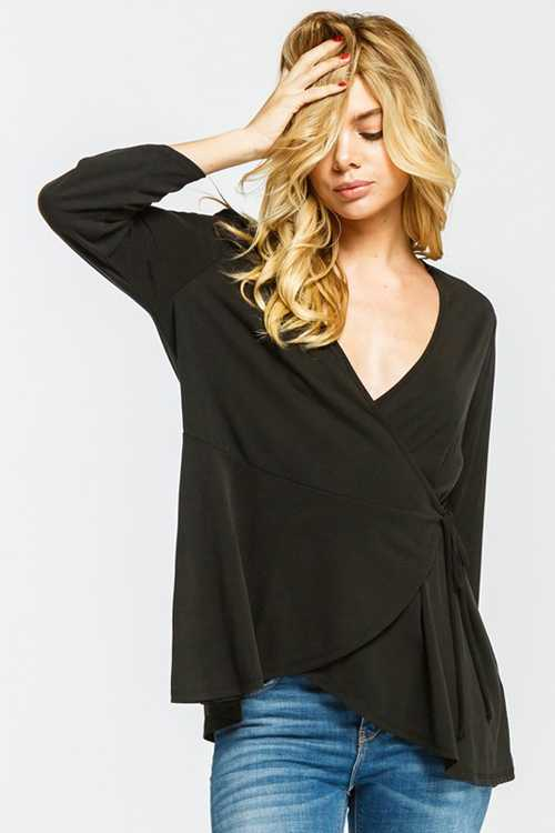 3/4 Sleeve V Neck Wrap Top