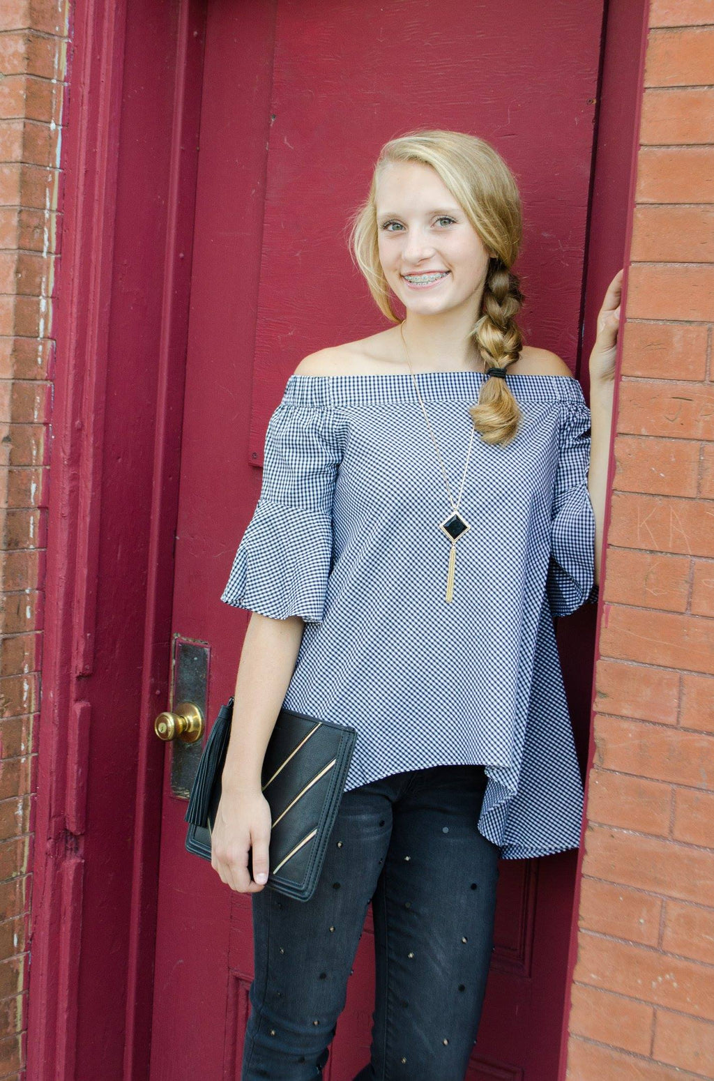 3/4 Bell Sleeve Off Shoulder Top