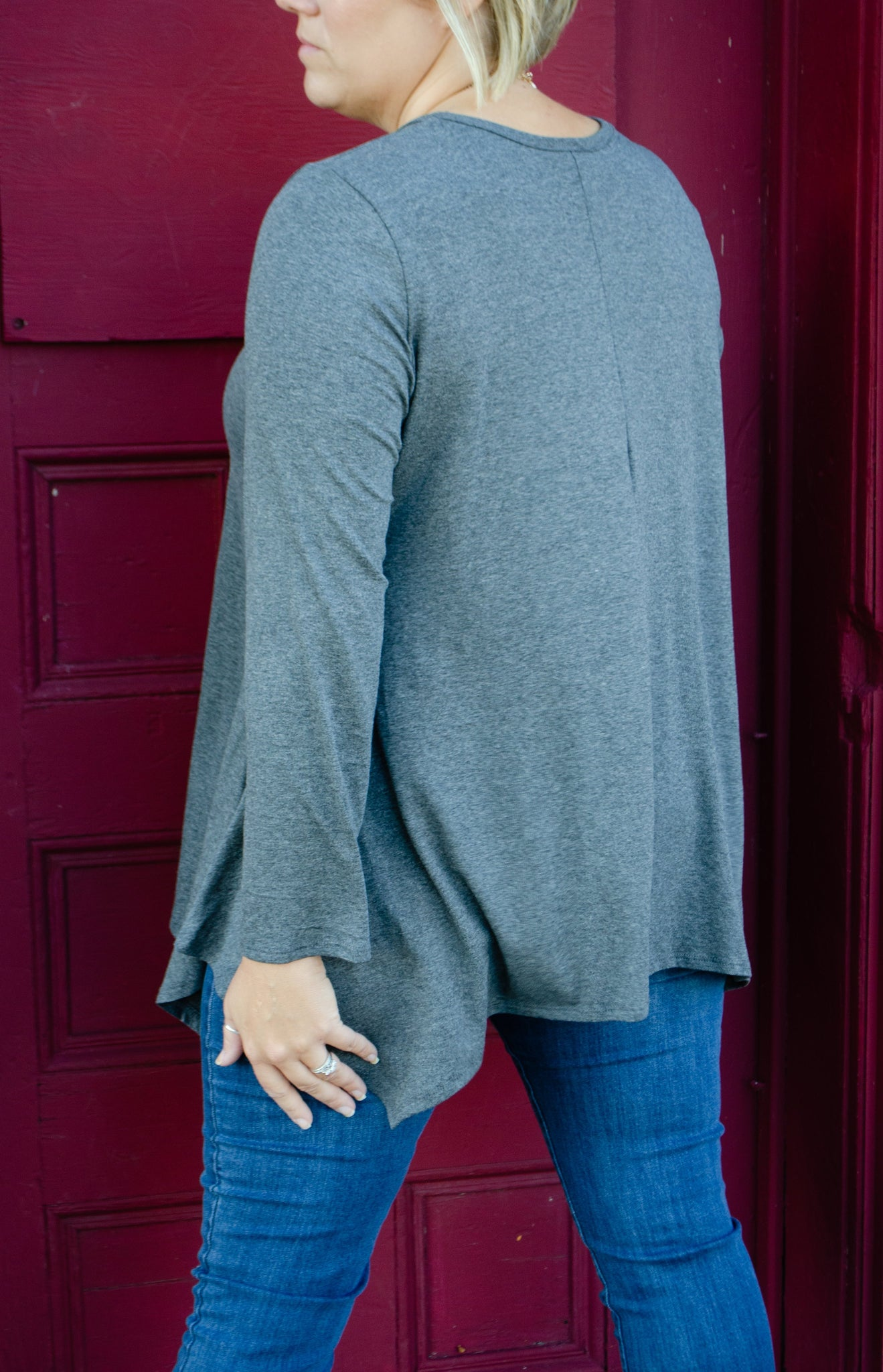 Plus Long Sleeve Tunic Top w Front Strap