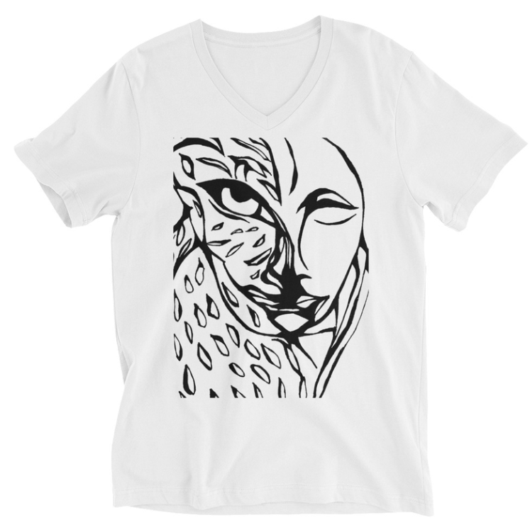 JAGUAR MEDICINE White Unisex Short Sleeve V-Neck T-Shirt