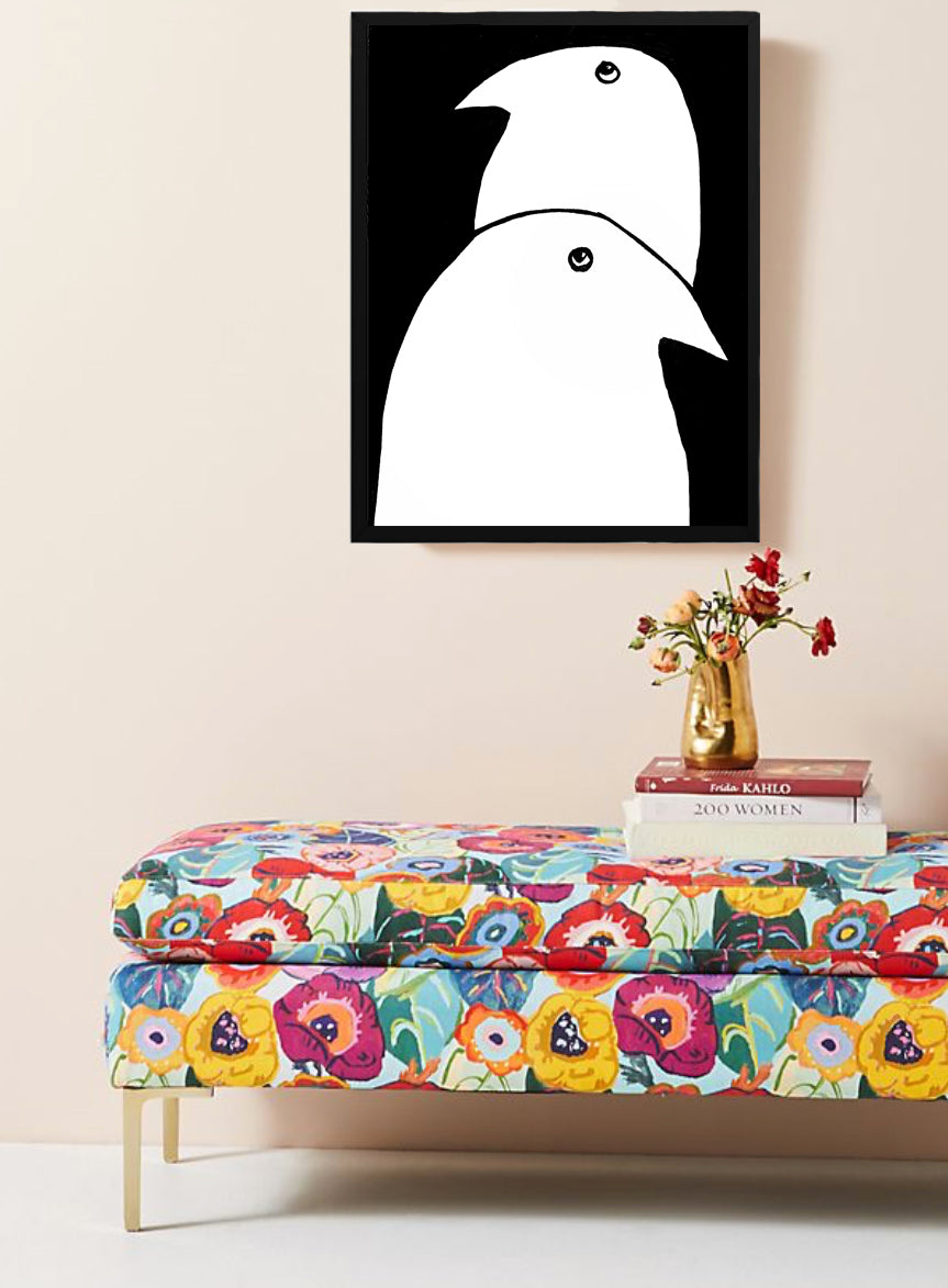 TWO BIRDS wall art black frame