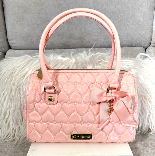 Betsey Johnson Pink Patent Shoulder Bag - City Girl Barn Treasures