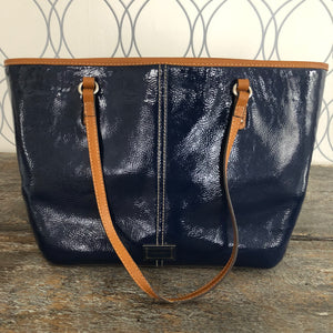 Nine West Navy Blue patent Leather Tote - City Girl Barn Treasures