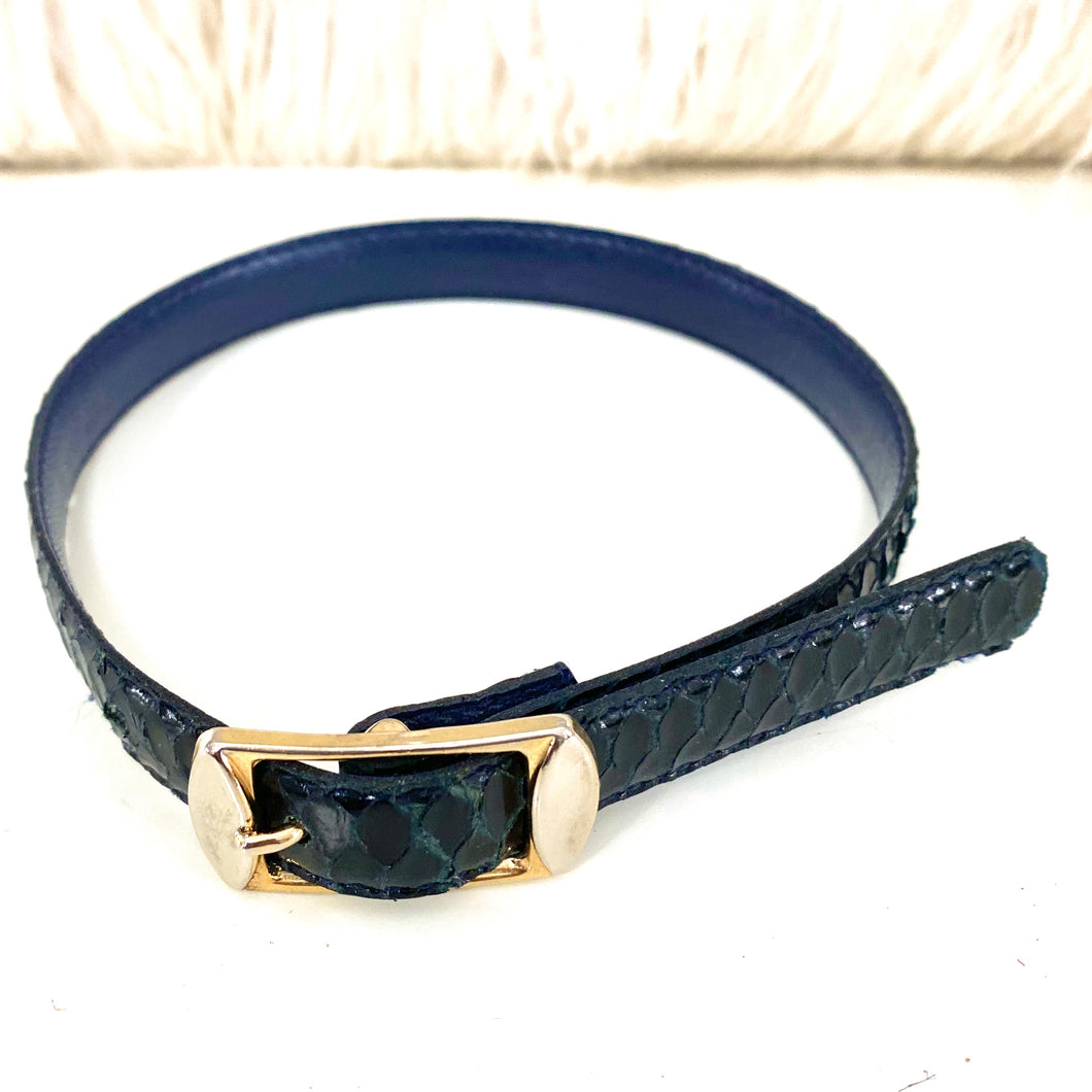 Saphire Blue Reptile Leather  Dog Collar - City Girl Barn Treasures