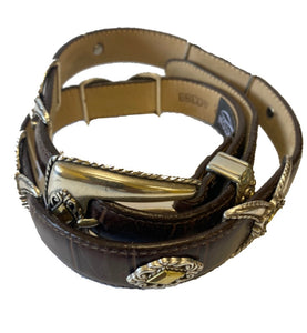 Brown Leather Brighton Belt With Silver plated Buckle And Embellishments Sz Small - City Girl Barn Treasures
