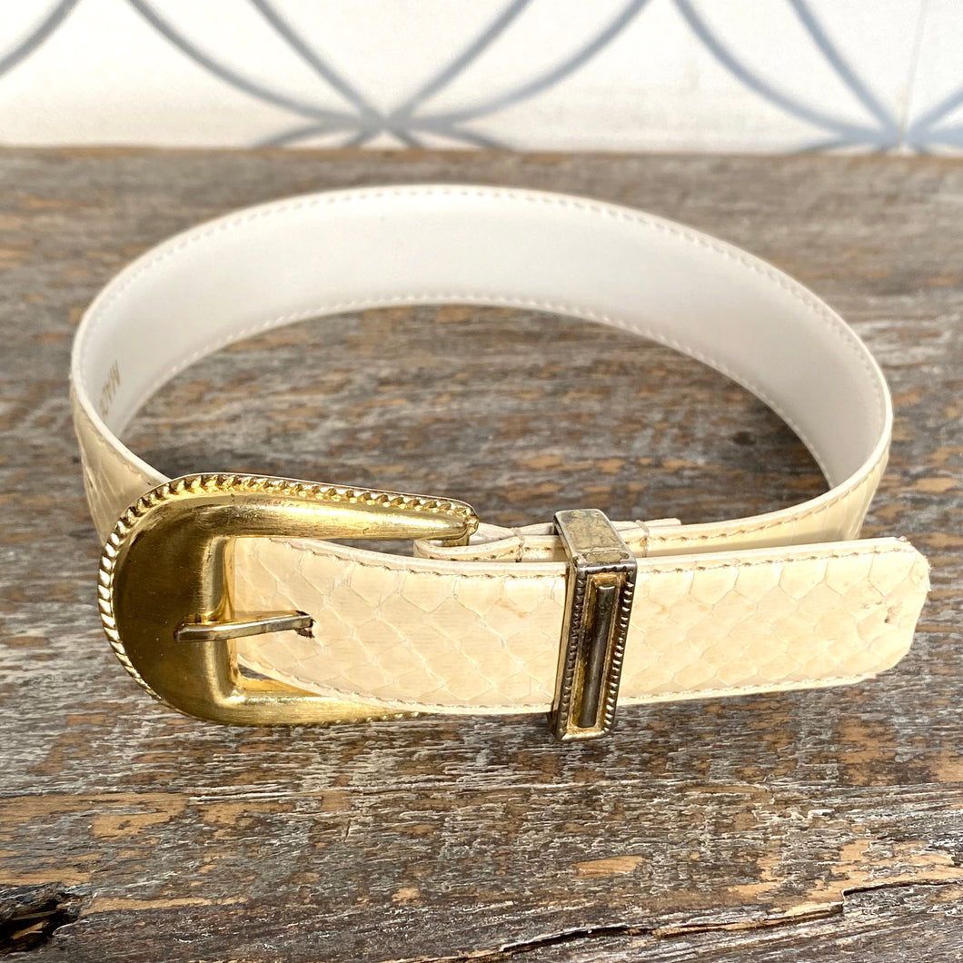 Cream and white  Reptile Leather  Dog Collar - City Girl Barn Treasures