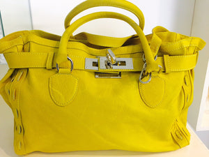 Vera Pelle Canary Yellow Italian leather Satchel bag - City Girl Barn Treasures