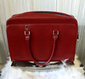 MiMi Dicarlo Lizard Embossed Red Leather Briefcase Handbag - City Girl Barn Treasures