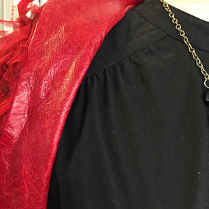 Red Silk and Leather Bolero Jacket Sz S - City Girl Barn Treasures