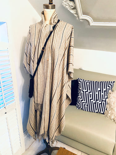 Cream And Navy  Wool Stripped Cloak Cape One Size - City Girl Barn Treasures